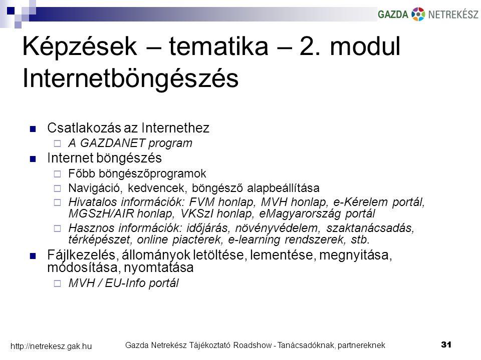 Gazda Netrekész Tájékoztató Roadshow - Tanácsadóknak, partnereknek31 http://netrekesz.gak.hu 31 Képzések – tematika – 2.