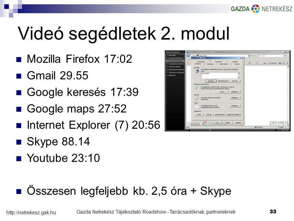 Gazda Netrekész Tájékoztató Roadshow - Tanácsadóknak, partnereknek33 http://netrekesz.gak.hu 33 Videó segédletek 2.