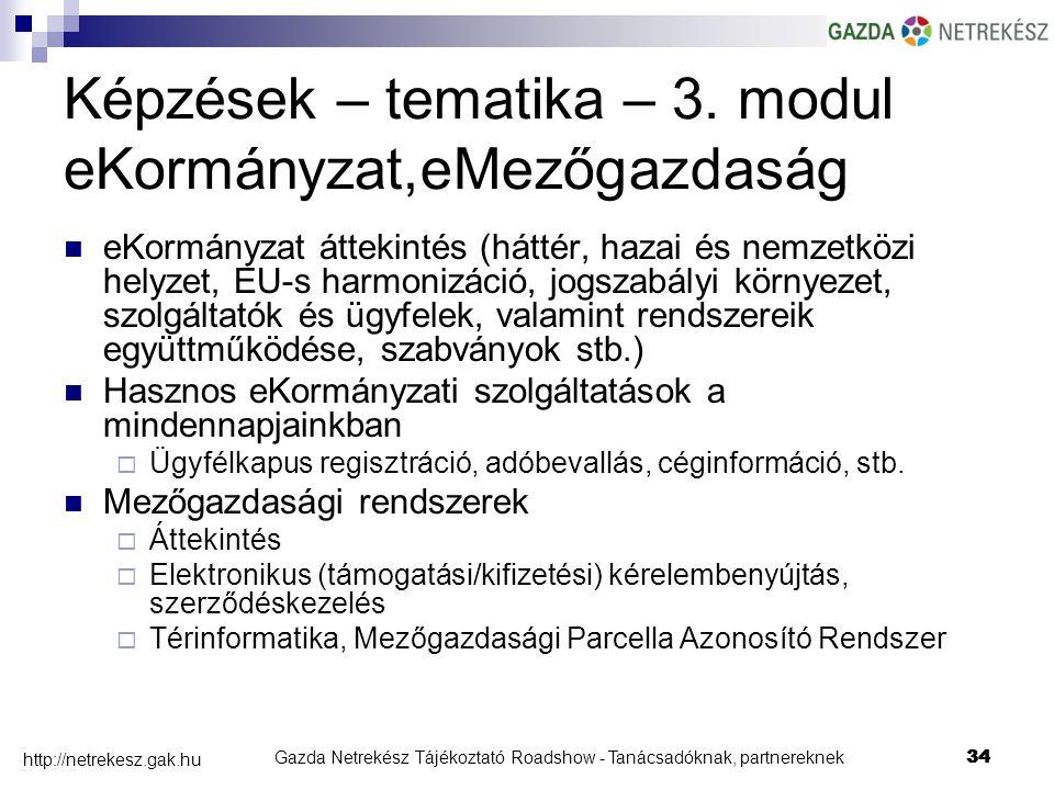 Gazda Netrekész Tájékoztató Roadshow - Tanácsadóknak, partnereknek34 http://netrekesz.gak.hu 34 Képzések – tematika – 3.