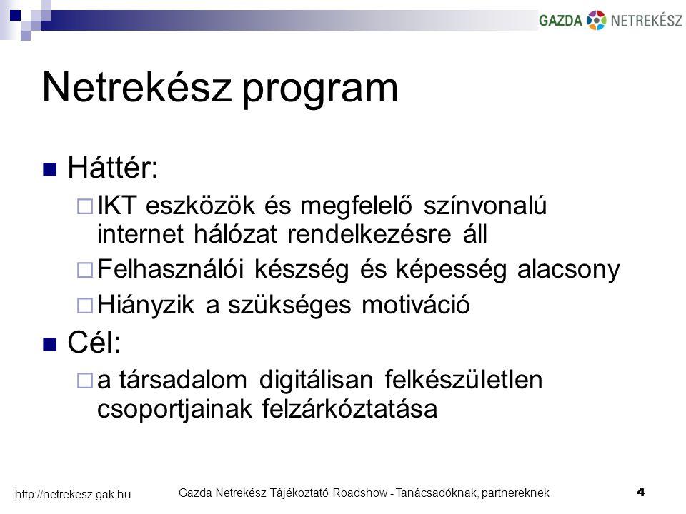 Gazda Netrekész Tájékoztató Roadshow - Tanácsadóknak, partnereknek4 http://netrekesz.gak.hu 4 Netrekész program Háttér:  IKT eszközök és megfelelő színvonalú internet hálózat rendelkezésre áll  Felhasználói készség és képesség alacsony  Hiányzik a szükséges motiváció Cél:  a társadalom digitálisan felkészületlen csoportjainak felzárkóztatása