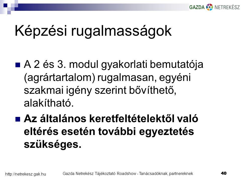Gazda Netrekész Tájékoztató Roadshow - Tanácsadóknak, partnereknek40 http://netrekesz.gak.hu 40 A 2 és 3.