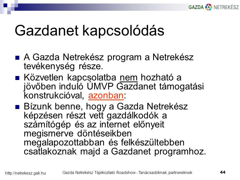 Gazda Netrekész Tájékoztató Roadshow - Tanácsadóknak, partnereknek44 http://netrekesz.gak.hu Gazdanet kapcsolódás A Gazda Netrekész program a Netrekész tevékenység része.