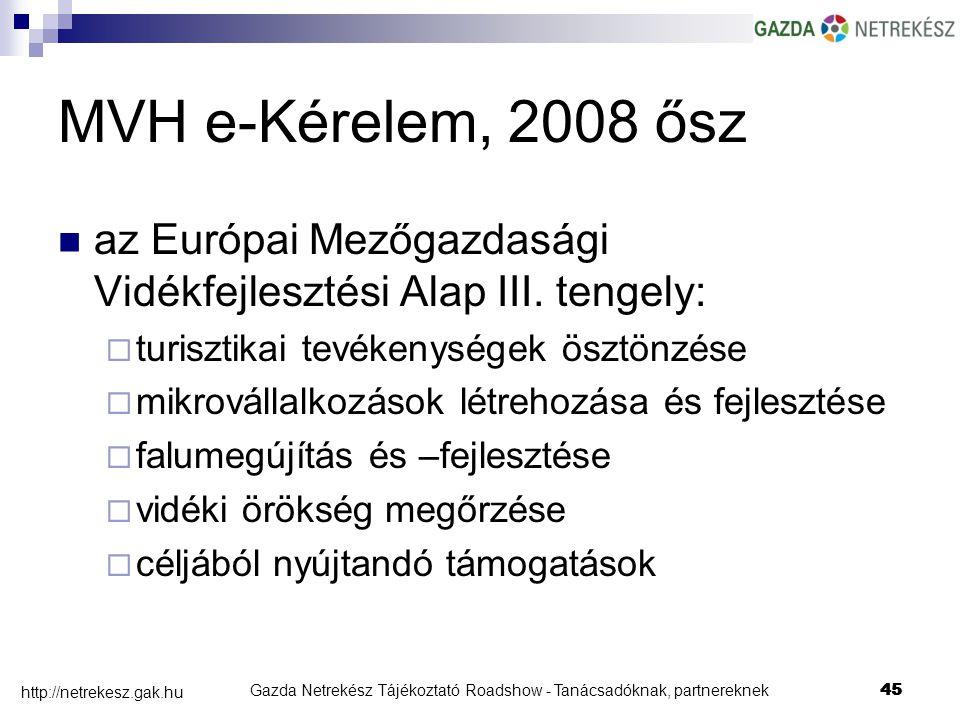 Gazda Netrekész Tájékoztató Roadshow - Tanácsadóknak, partnereknek45 http://netrekesz.gak.hu 45 MVH e-Kérelem, 2008 ősz az Európai Mezőgazdasági Vidékfejlesztési Alap III.