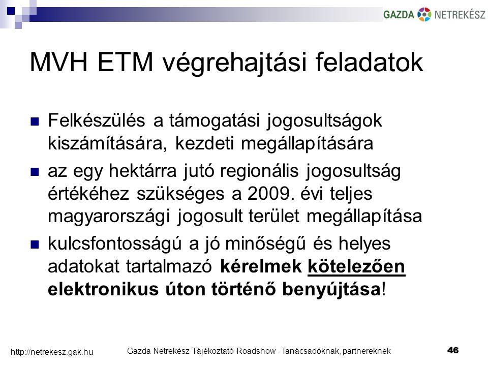 Gazda Netrekész Tájékoztató Roadshow - Tanácsadóknak, partnereknek46 http://netrekesz.gak.hu 46 MVH ETM végrehajtási feladatok Felkészülés a támogatási jogosultságok kiszámítására, kezdeti megállapítására az egy hektárra jutó regionális jogosultság értékéhez szükséges a 2009.