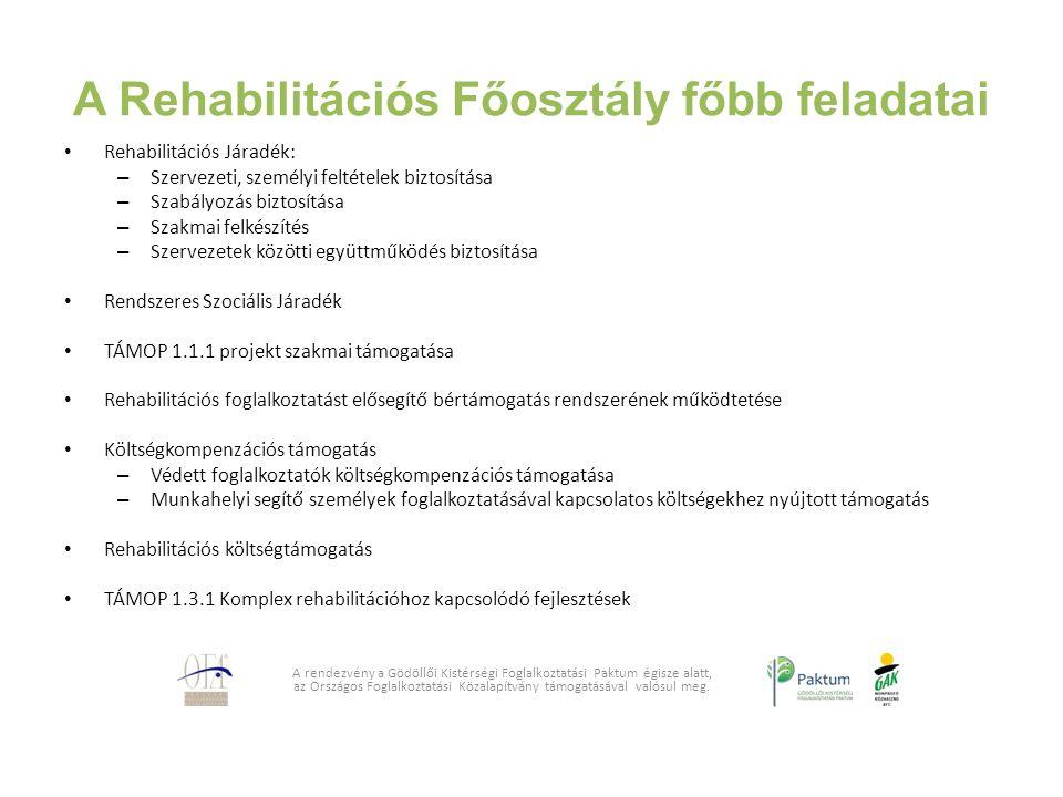 A Rehabilitációs Főosztály főbb feladatai Rehabilitációs Járadék: – Szervezeti, személyi feltételek biztosítása – Szabályozás biztosítása – Szakmai fe