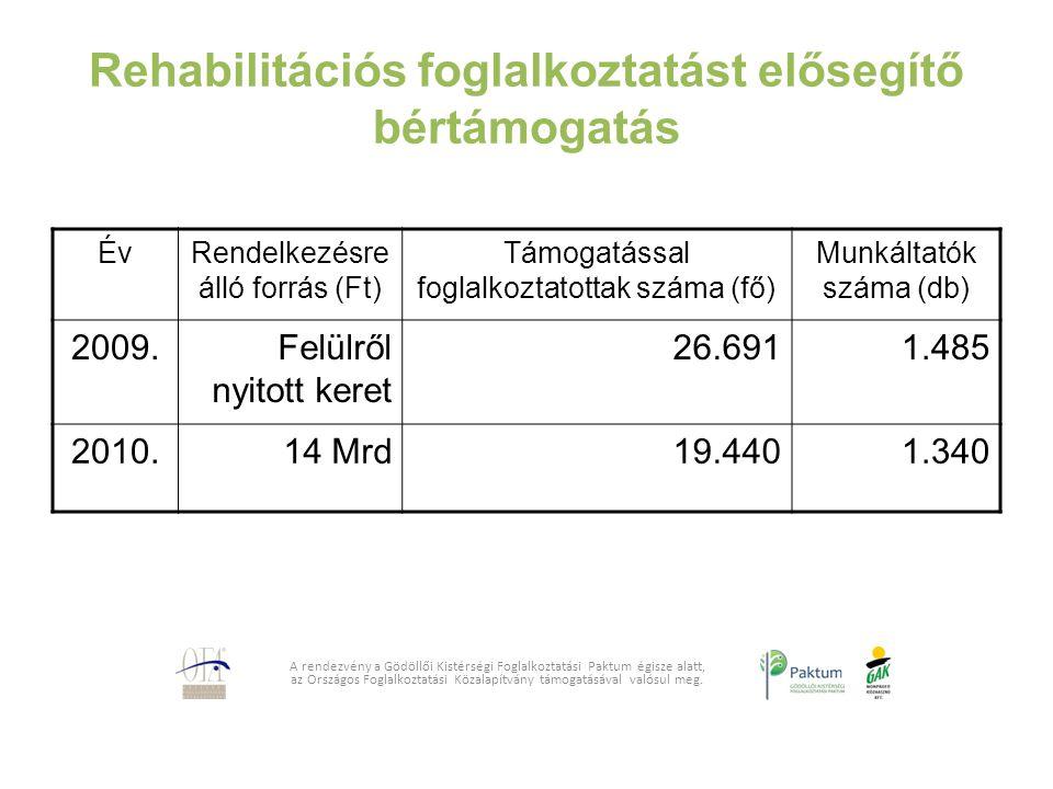 Rehabilitációs foglalkoztatást elősegítő bértámogatás A rendezvény a Gödöllői Kistérségi Foglalkoztatási Paktum égisze alatt, az Országos Foglalkoztat