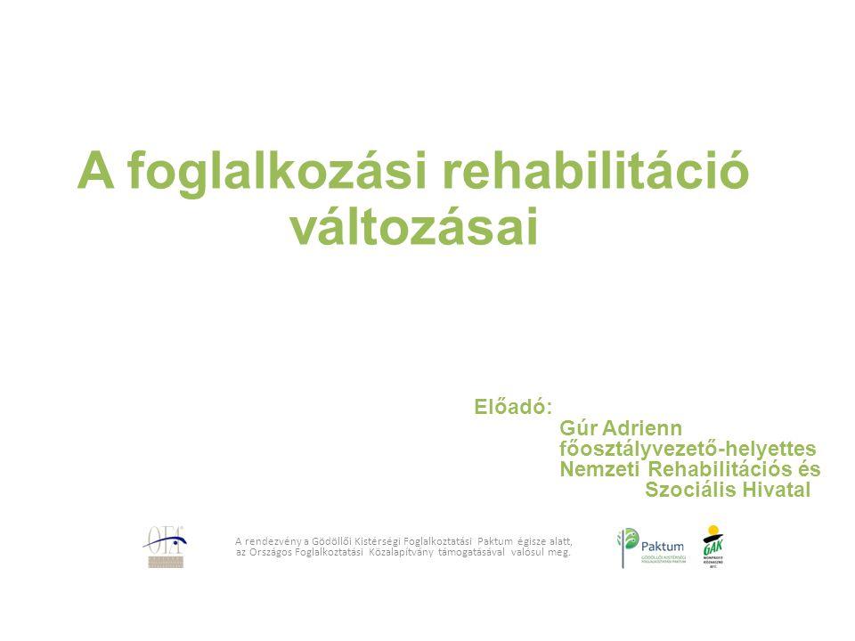 A foglalkozási rehabilitáció változásai A rendezvény a Gödöllői Kistérségi Foglalkoztatási Paktum égisze alatt, az Országos Foglalkoztatási Közalapítv
