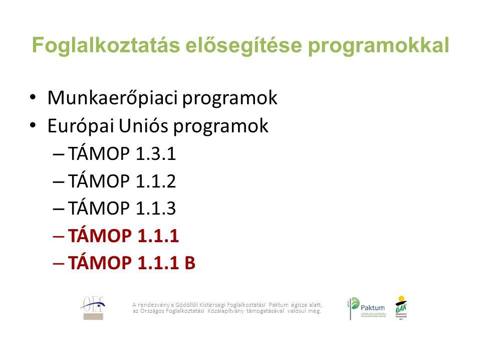 Foglalkoztatás elősegítése programokkal Munkaerőpiaci programok Európai Uniós programok – TÁMOP 1.3.1 – TÁMOP 1.1.2 – TÁMOP 1.1.3 – TÁMOP 1.1.1 – TÁMO