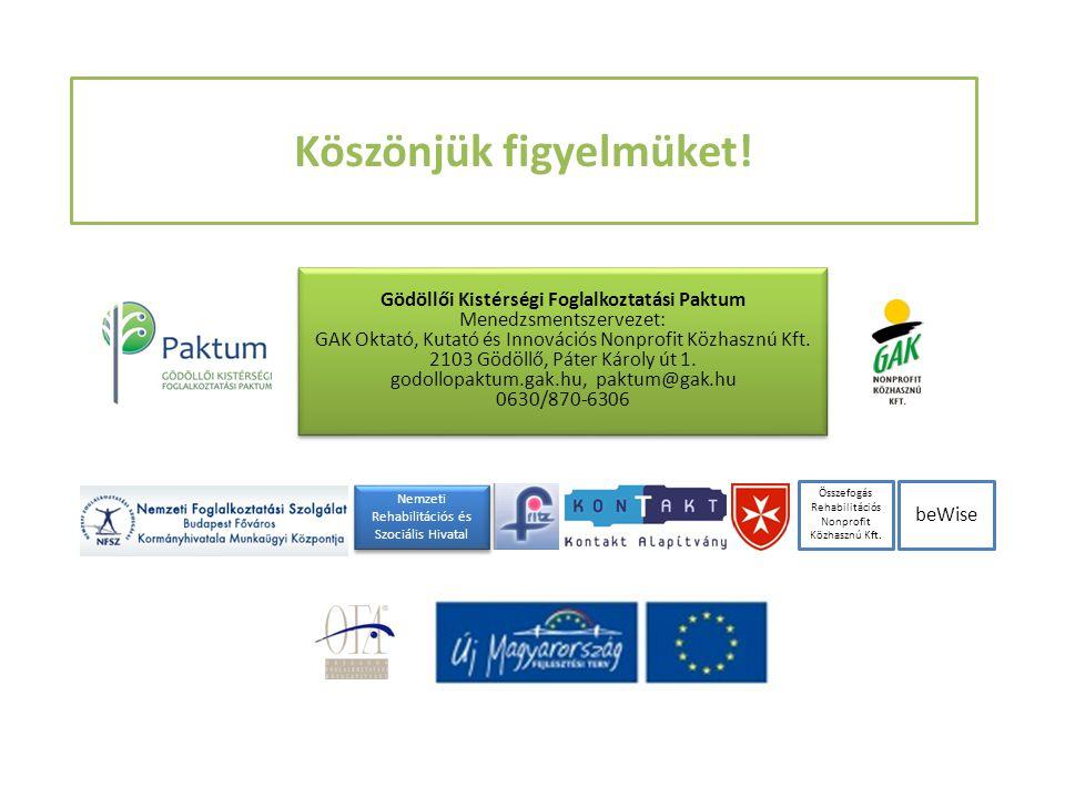 Köszönjük figyelmüket! Gödöllői Kistérségi Foglalkoztatási Paktum Menedzsmentszervezet: GAK Oktató, Kutató és Innovációs Nonprofit Közhasznú Kft. 2103