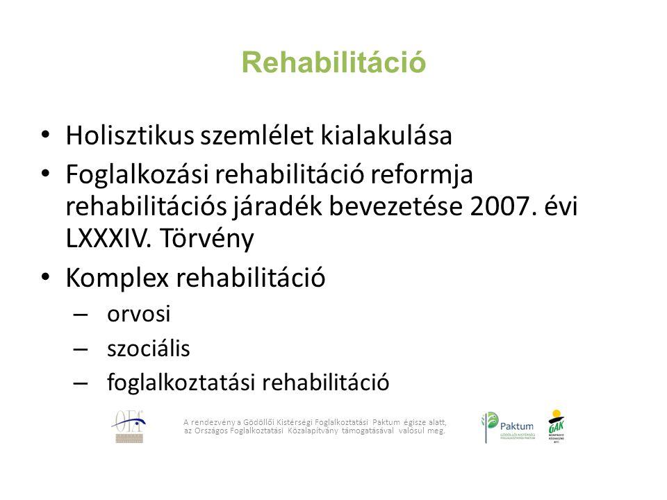 Rehabilitáció Holisztikus szemlélet kialakulása Foglalkozási rehabilitáció reformja rehabilitációs járadék bevezetése 2007. évi LXXXIV. Törvény Komple
