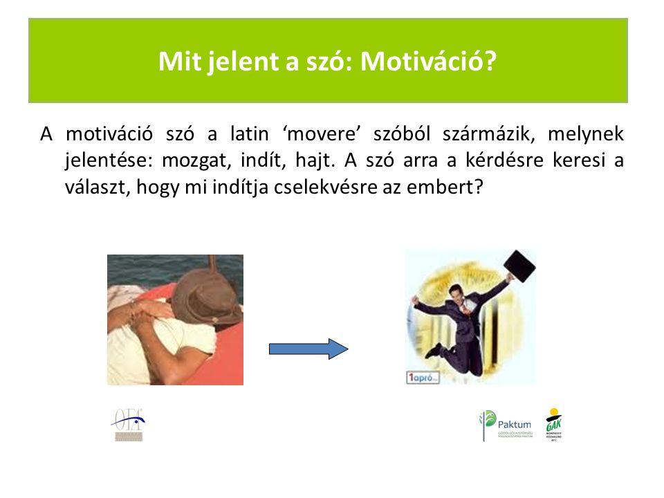 A motiváció szó a latin 'movere' szóból szármázik, melynek jelentése: mozgat, indít, hajt.