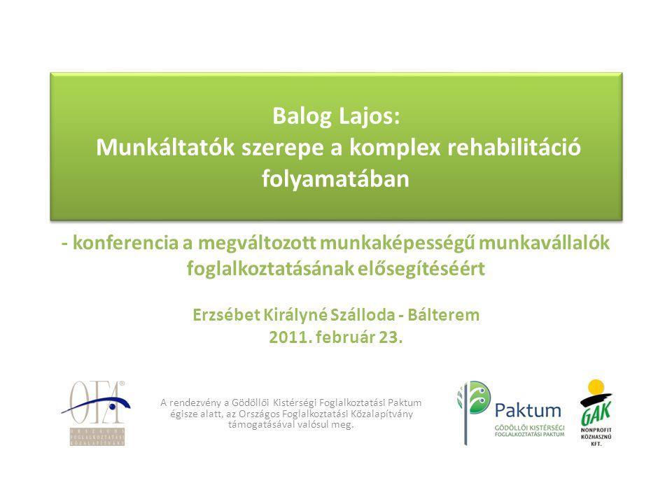 Balog Lajos: Munkáltatók szerepe a komplex rehabilitáció folyamatában Balog Lajos: Munkáltatók szerepe a komplex rehabilitáció folyamatában - konferen