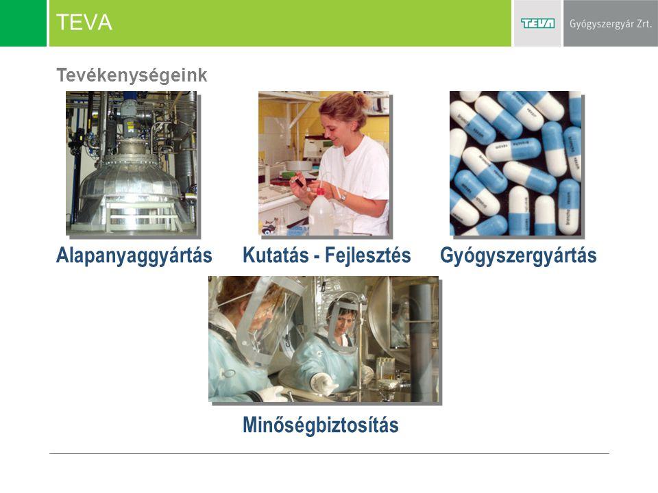 TEVA Tevékenységeink AlapanyaggyártásGyógyszergyártásKutatás - Fejlesztés Minőségbiztosítás