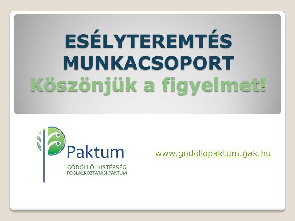 ESÉLYTEREMTÉS MUNKACSOPORT Köszönjük a figyelmet! www.godollopaktum.gak.hu