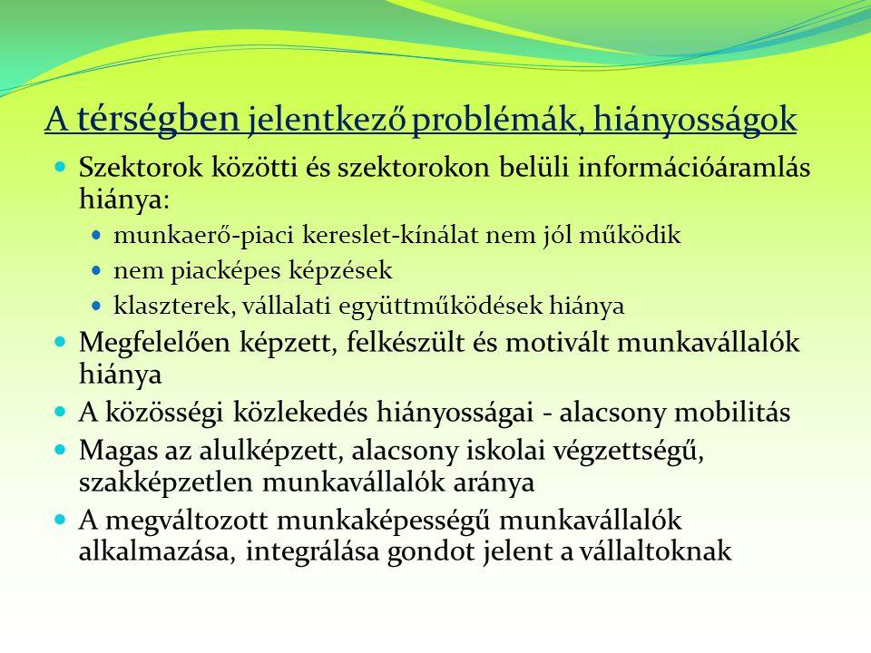 A térségben jelentkező problémák, hiányosságok Szektorok közötti és szektorokon belüli információáramlás hiánya: munkaerő-piaci kereslet-kínálat nem j