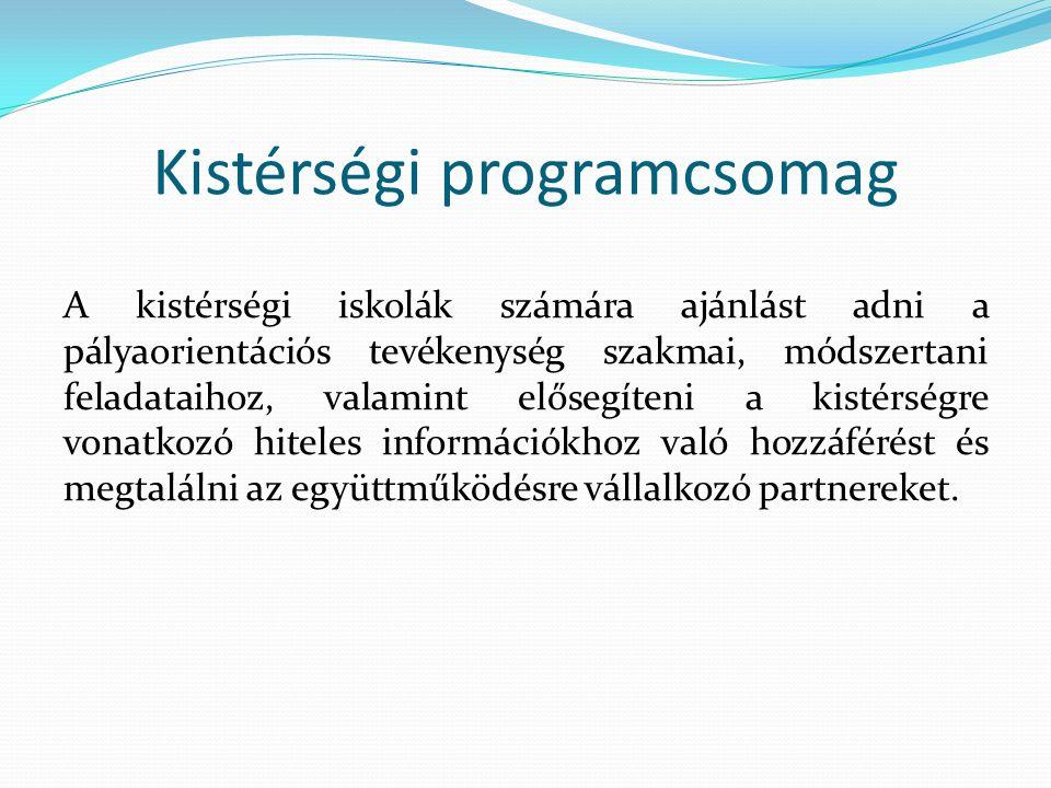 Kistérségi programcsomag A kistérségi iskolák számára ajánlást adni a pályaorientációs tevékenység szakmai, módszertani feladataihoz, valamint elősegíteni a kistérségre vonatkozó hiteles információkhoz való hozzáférést és megtalálni az együttműködésre vállalkozó partnereket.