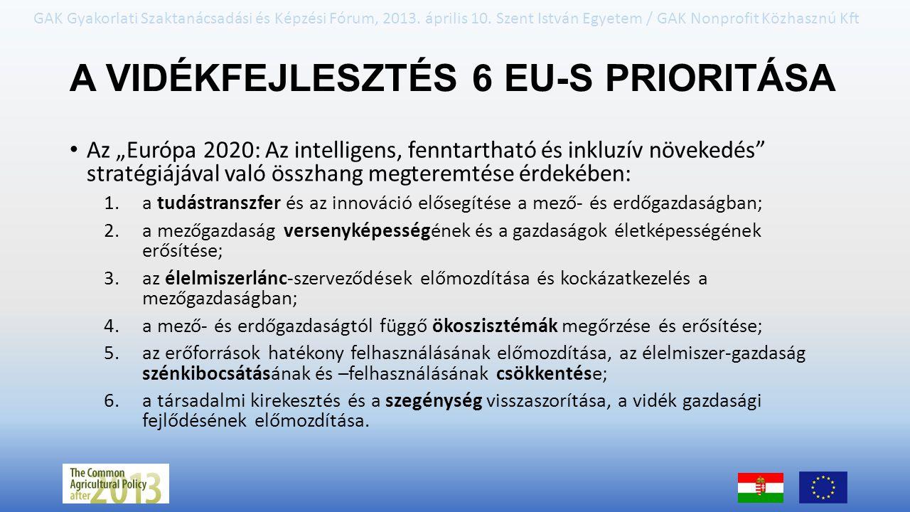 GAK Gyakorlati Szaktanácsadási és Képzési Fórum, 2013. április 10. Szent István Egyetem / GAK Nonprofit Közhasznú Kft A VIDÉKFEJLESZTÉS 6 EU-S PRIORIT