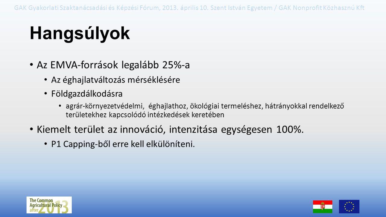 GAK Gyakorlati Szaktanácsadási és Képzési Fórum, 2013. április 10. Szent István Egyetem / GAK Nonprofit Közhasznú Kft Hangsúlyok Az EMVA-források lega
