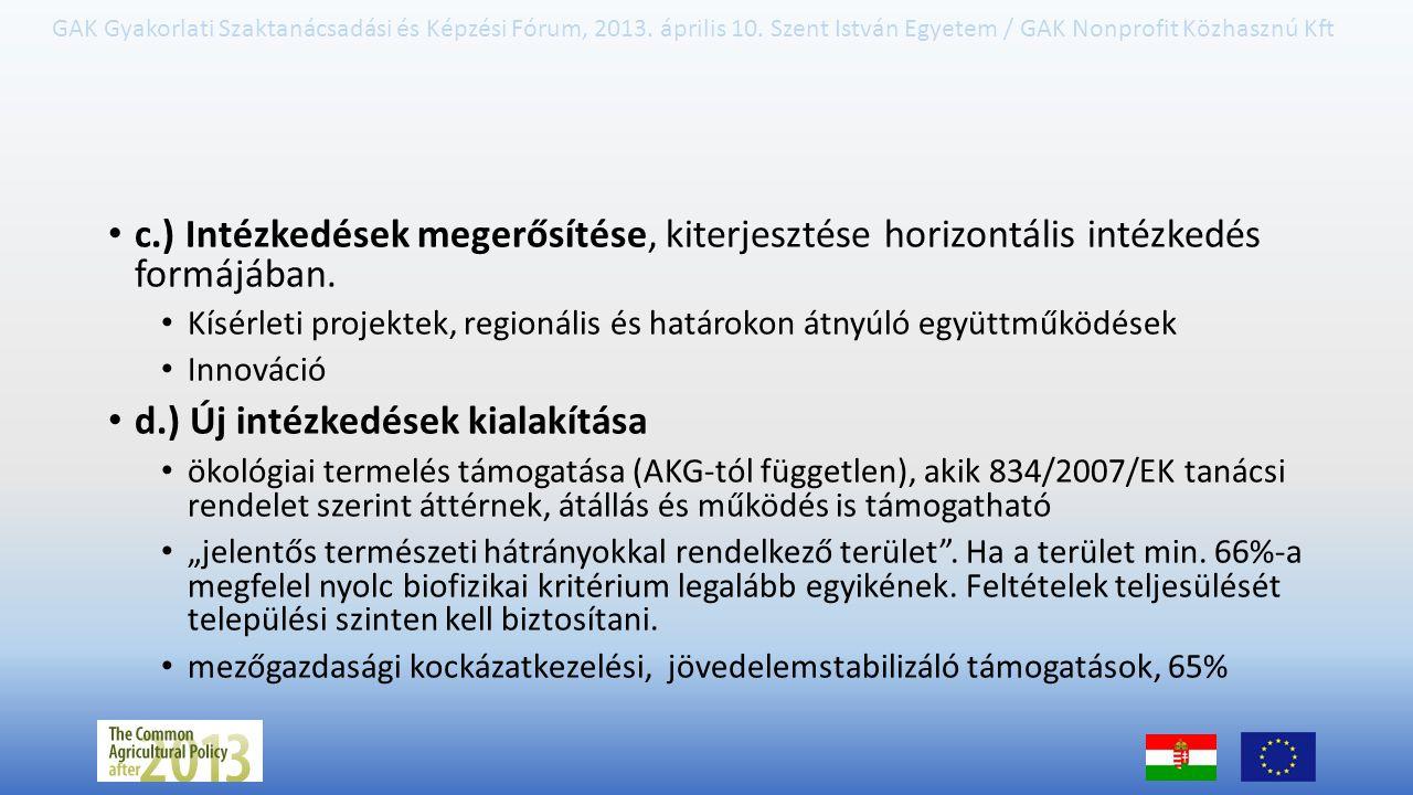 GAK Gyakorlati Szaktanácsadási és Képzési Fórum, 2013. április 10. Szent István Egyetem / GAK Nonprofit Közhasznú Kft c.) Intézkedések megerősítése, k