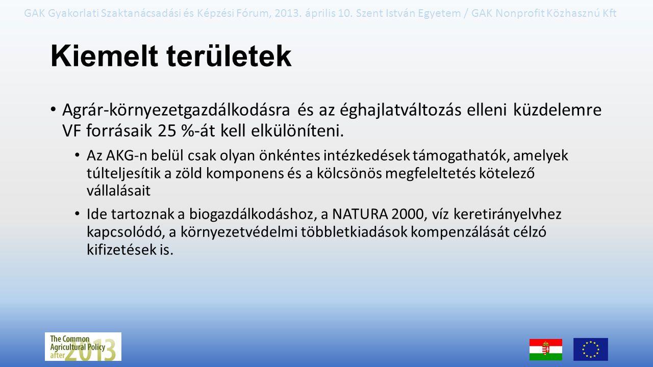 GAK Gyakorlati Szaktanácsadási és Képzési Fórum, 2013. április 10. Szent István Egyetem / GAK Nonprofit Közhasznú Kft Kiemelt területek Agrár-környeze