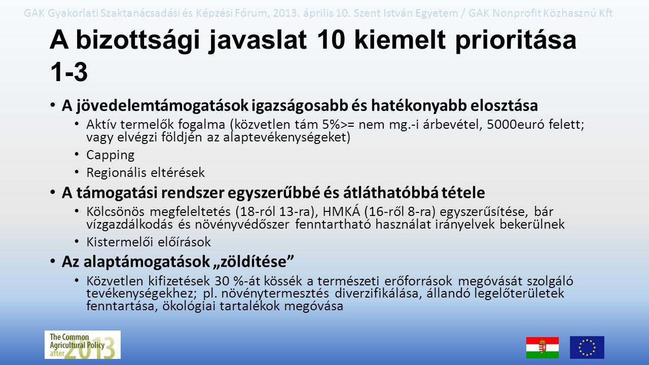GAK Gyakorlati Szaktanácsadási és Képzési Fórum, 2013. április 10. Szent István Egyetem / GAK Nonprofit Közhasznú Kft A bizottsági javaslat 10 kiemelt