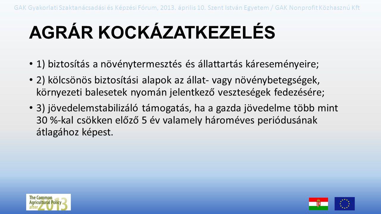 GAK Gyakorlati Szaktanácsadási és Képzési Fórum, 2013. április 10. Szent István Egyetem / GAK Nonprofit Közhasznú Kft AGRÁR KOCKÁZATKEZELÉS 1) biztosí