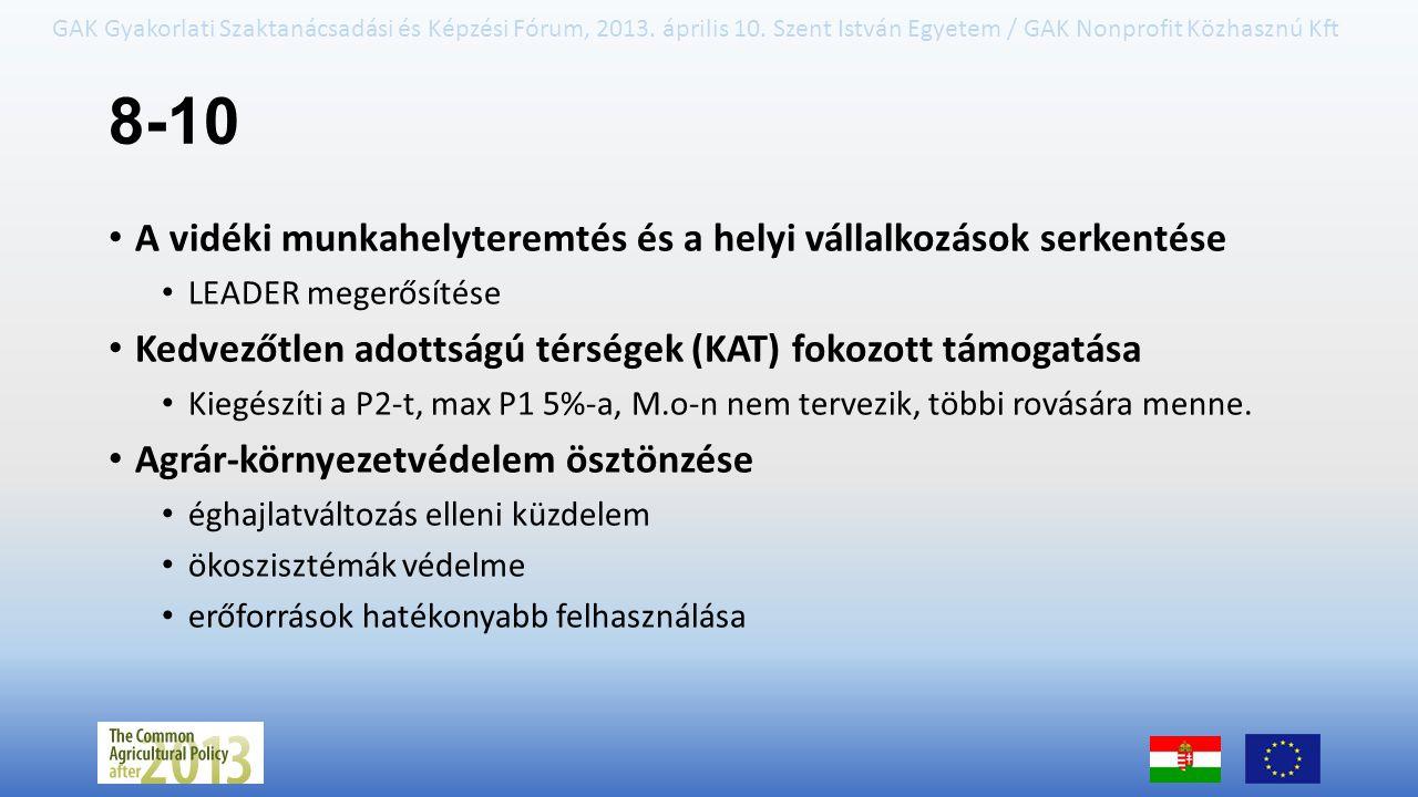 GAK Gyakorlati Szaktanácsadási és Képzési Fórum, 2013. április 10. Szent István Egyetem / GAK Nonprofit Közhasznú Kft 8-10 A vidéki munkahelyteremtés