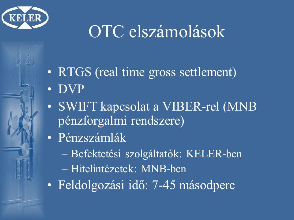 OTC elszámolások RTGS (real time gross settlement) DVP SWIFT kapcsolat a VIBER-rel (MNB pénzforgalmi rendszere) Pénzszámlák –Befektetési szolgáltatók: KELER-ben –Hitelintézetek: MNB-ben Feldolgozási idő: 7-45 másodperc