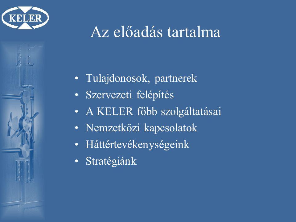 Az előadás tartalma Tulajdonosok, partnerek Szervezeti felépítés A KELER főbb szolgáltatásai Nemzetközi kapcsolatok Háttértevékenységeink Stratégiánk