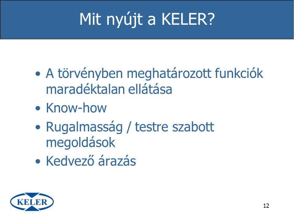 12 Mit nyújt a KELER? A törvényben meghatározott funkciók maradéktalan ellátása Know-how Rugalmasság / testre szabott megoldások Kedvező árazás