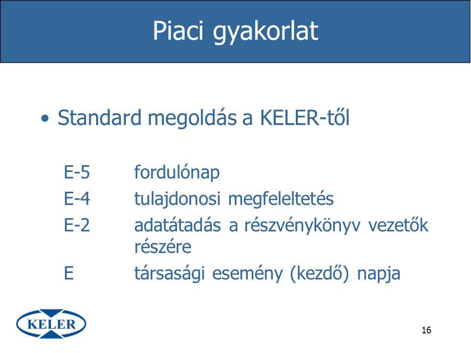 16 Piaci gyakorlat Standard megoldás a KELER-től E-5fordulónap E-4tulajdonosi megfeleltetés E-2adatátadás a részvénykönyv vezetők részére Etársasági e