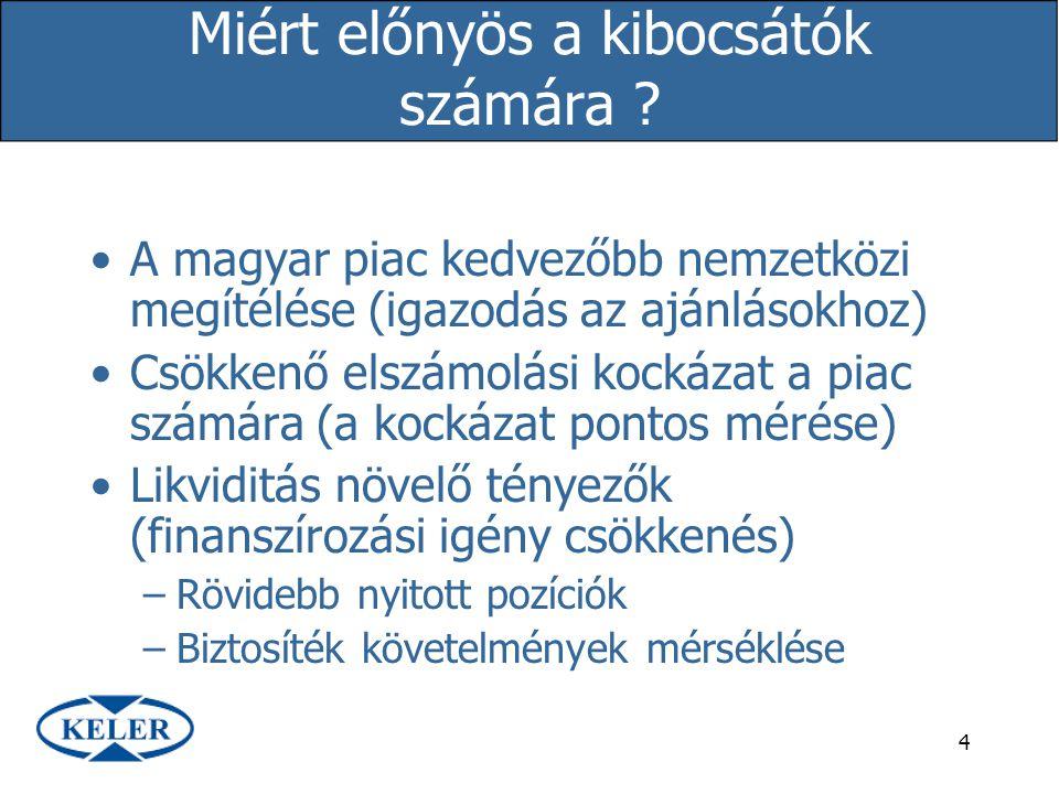 4 Miért előnyös a kibocsátók számára ? A magyar piac kedvezőbb nemzetközi megítélése (igazodás az ajánlásokhoz) Csökkenő elszámolási kockázat a piac s
