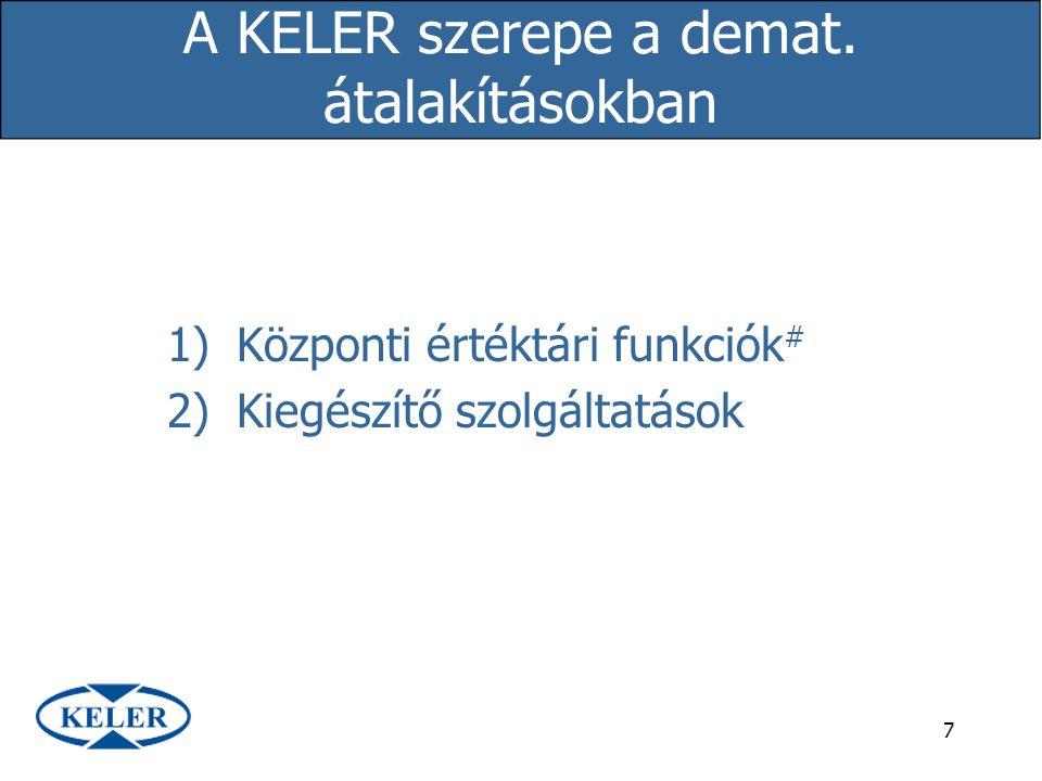 7 A KELER szerepe a demat. átalakításokban 1)Központi értéktári funkciók # 2)Kiegészítő szolgáltatások