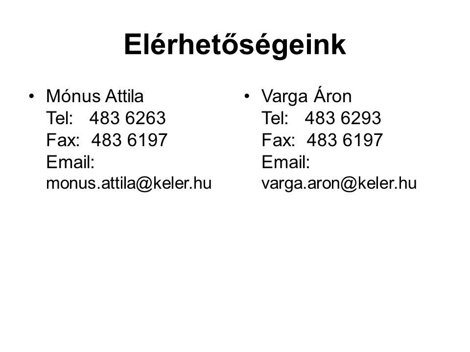 Elérhetőségeink Mónus Attila Tel: 483 6263 Fax: 483 6197 Email: monus.attila@keler.hu Varga Áron Tel: 483 6293 Fax: 483 6197 Email: varga.aron@keler.h