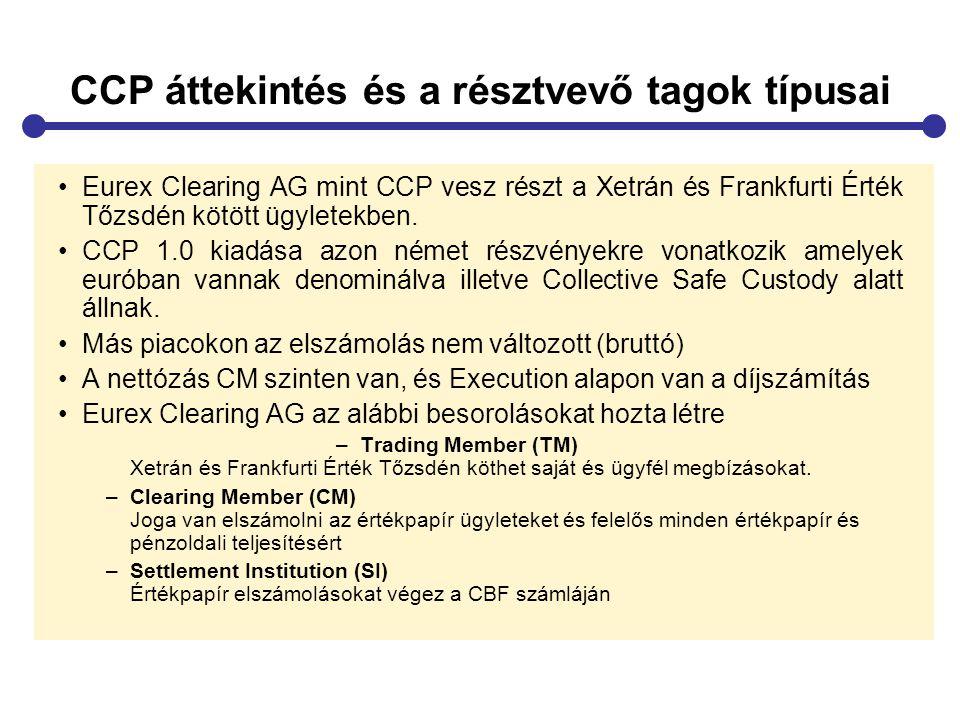 CCP áttekintés és a résztvevő tagok típusai Eurex Clearing AG mint CCP vesz részt a Xetrán és Frankfurti Érték Tőzsdén kötött ügyletekben. CCP 1.0 kia