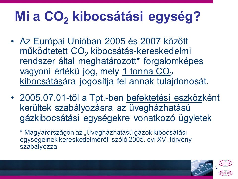 1 A CO 2 KIBOCSÁTÁSI EGYSÉG ÜGYLETEK ELSZÁMOLÁSA - tájékoztató a befektetési szolgáltatók részére 2005.