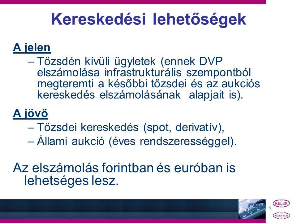5 A jelen –Tőzsdén kívüli ügyletek (ennek DVP elszámolása infrastrukturális szempontból megteremti a későbbi tőzsdei és az aukciós kereskedés elszámolásának alapjait is).