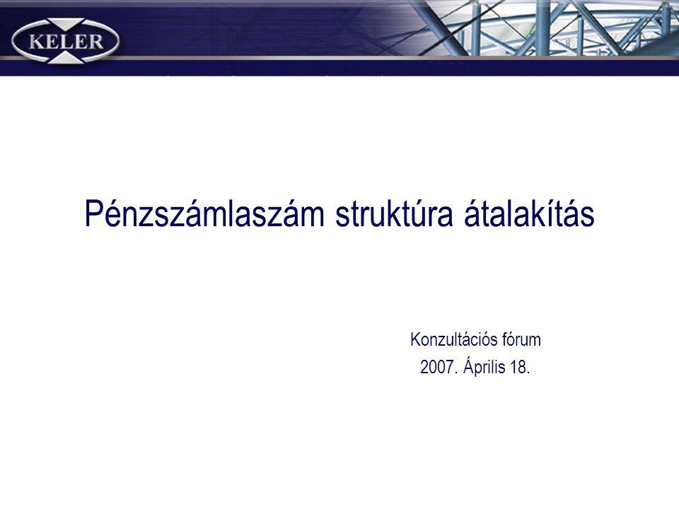 Pénzszámlaszám struktúra átalakítás Konzultációs fórum 2007. Április 18.
