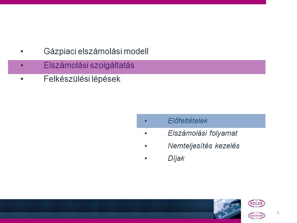 5 Gázpiaci elszámolási modell Elszámolási szolgáltatás Felkészülési lépések Előfeltételek Elszámolási folyamat Nemteljesítés kezelés Díjak