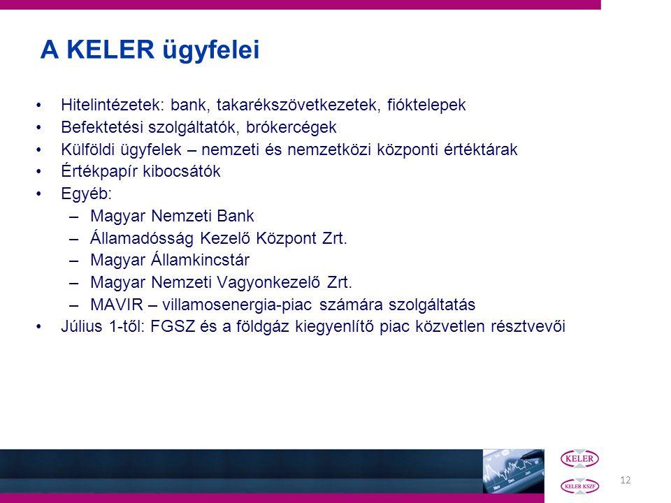12 A KELER ügyfelei Hitelintézetek: bank, takarékszövetkezetek, fióktelepek Befektetési szolgáltatók, brókercégek Külföldi ügyfelek – nemzeti és nemze