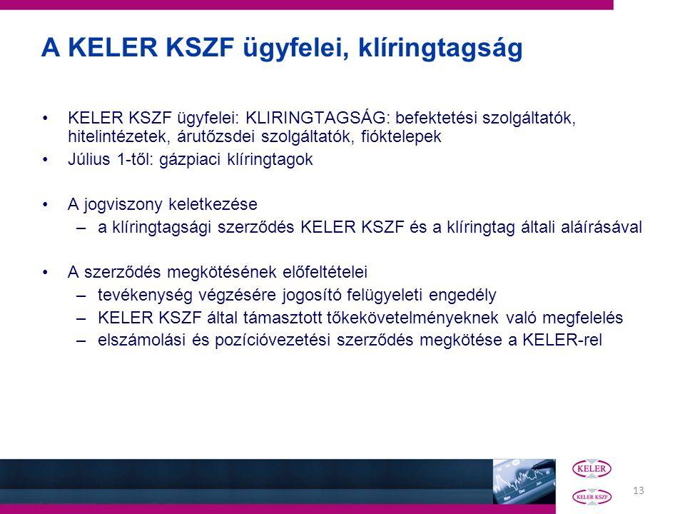 13 A KELER KSZF ügyfelei, klíringtagság KELER KSZF ügyfelei: KLIRINGTAGSÁG: befektetési szolgáltatók, hitelintézetek, árutőzsdei szolgáltatók, fióktel