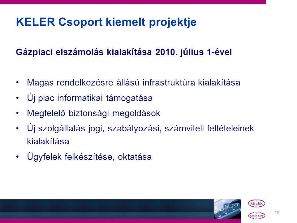 18 Gázpiaci elszámolás kialakítása 2010. július 1-ével Magas rendelkezésre állású infrastruktúra kialakítása Új piac informatikai támogatása Megfelelő