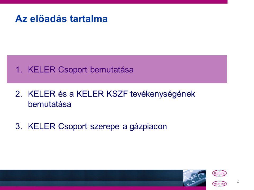 2 Az előadás tartalma 1.KELER Csoport bemutatása 2.KELER és a KELER KSZF tevékenységének bemutatása 3.KELER Csoport szerepe a gázpiacon