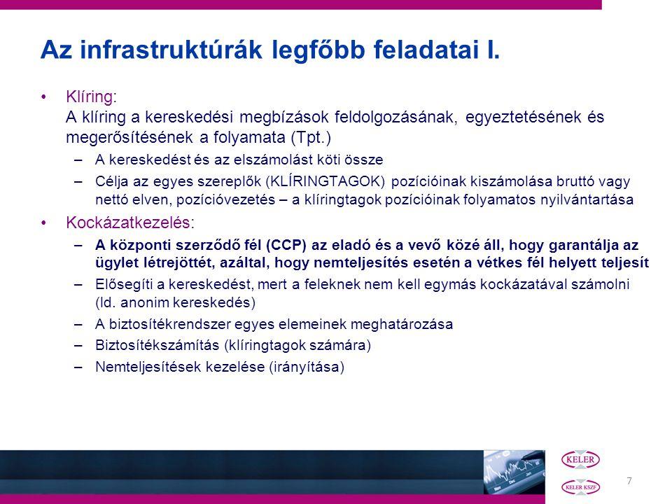 7 Az infrastruktúrák legfőbb feladatai I. Klíring: A klíring a kereskedési megbízások feldolgozásának, egyeztetésének és megerősítésének a folyamata (