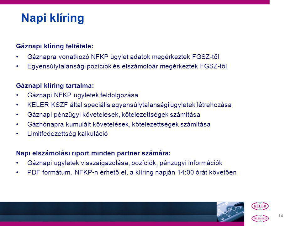 14 Napi klíring Gáznapi klíring feltétele: Gáznapra vonatkozó NFKP ügylet adatok megérkeztek FGSZ-től Egyensúlytalansági pozíciók és elszámolóár megérkeztek FGSZ-től Gáznapi klíring tartalma: Gáznapi NFKP ügyletek feldolgozása KELER KSZF által speciális egyensúlytalansági ügyletek létrehozása Gáznapi pénzügyi követelések, kötelezettségek számítása Gázhónapra kumulált követelések, kötelezettségek számítása Limitfedezettség kalkuláció Napi elszámolási riport minden partner számára: Gáznapi ügyletek visszaigazolása, pozíciók, pénzügyi információk PDF formátum, NFKP-n érhető el, a klíring napján 14:00 órát követően
