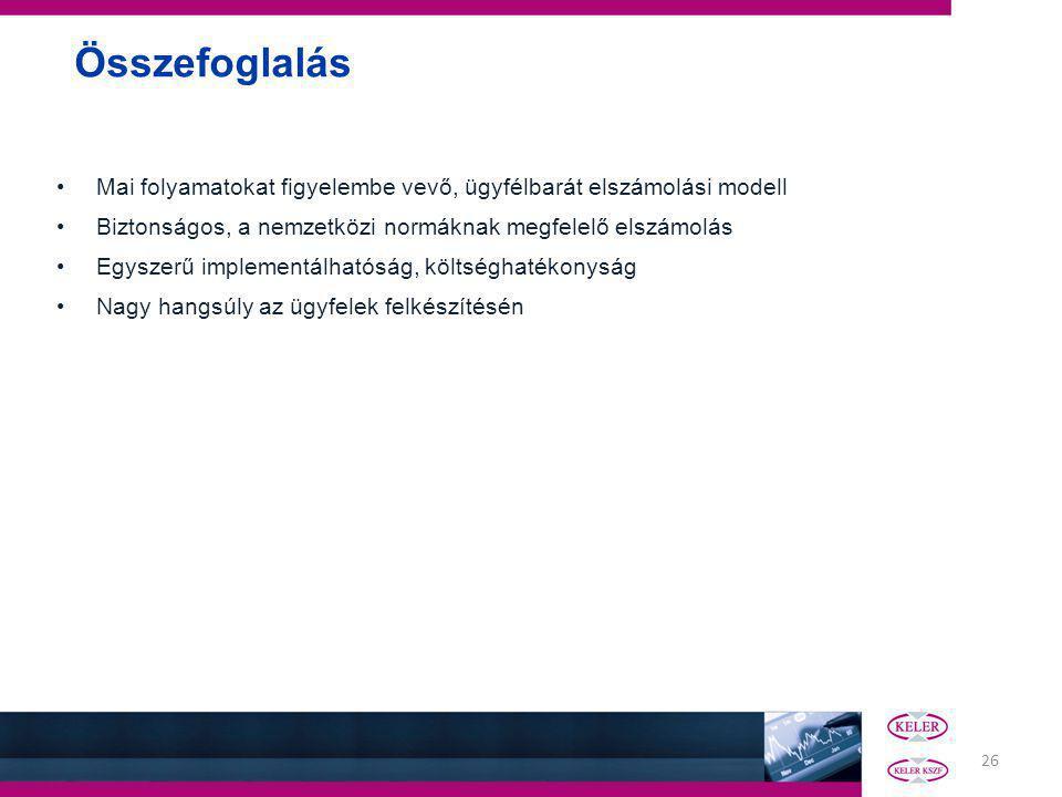 26 Összefoglalás Mai folyamatokat figyelembe vevő, ügyfélbarát elszámolási modell Biztonságos, a nemzetközi normáknak megfelelő elszámolás Egyszerű implementálhatóság, költséghatékonyság Nagy hangsúly az ügyfelek felkészítésén