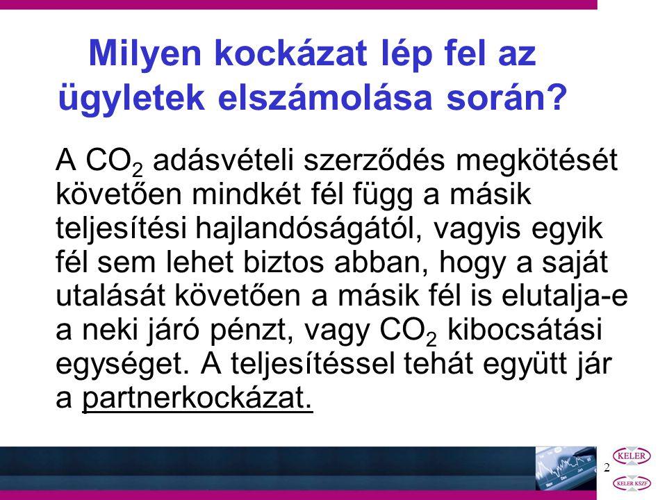 1 PARTNERKOCKÁZAT KEZELÉSE A CO 2 KERESKEDELEMBEN - tájékoztató az üzemeltetők és egyéb piaci szereplők részére - 2005.