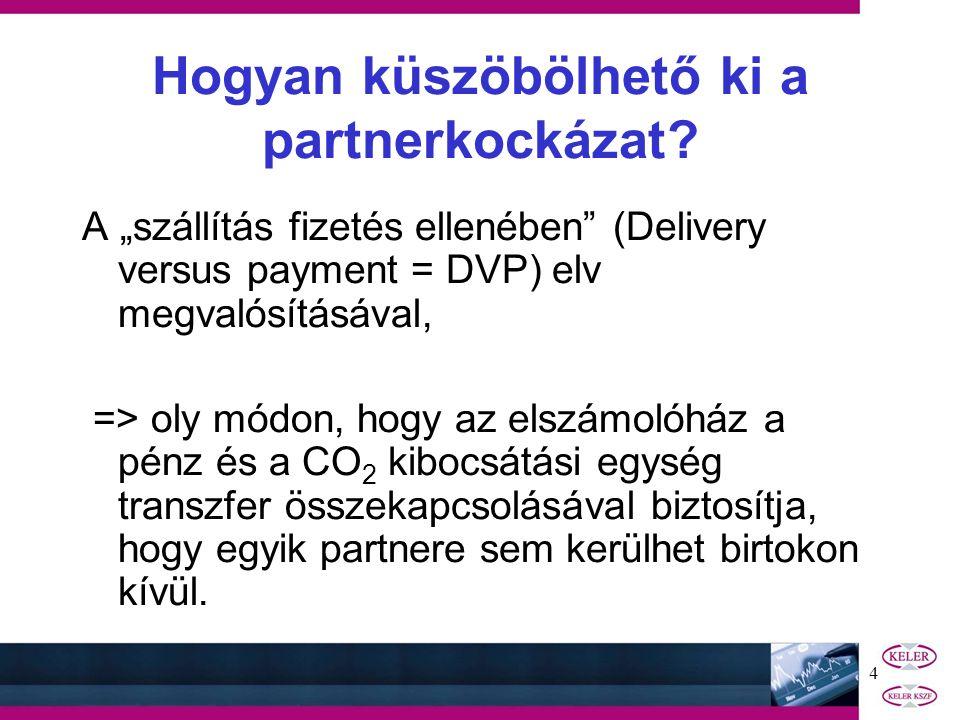 """4 A """"szállítás fizetés ellenében (Delivery versus payment = DVP) elv megvalósításával, => oly módon, hogy az elszámolóház a pénz és a CO 2 kibocsátási egység transzfer összekapcsolásával biztosítja, hogy egyik partnere sem kerülhet birtokon kívül."""