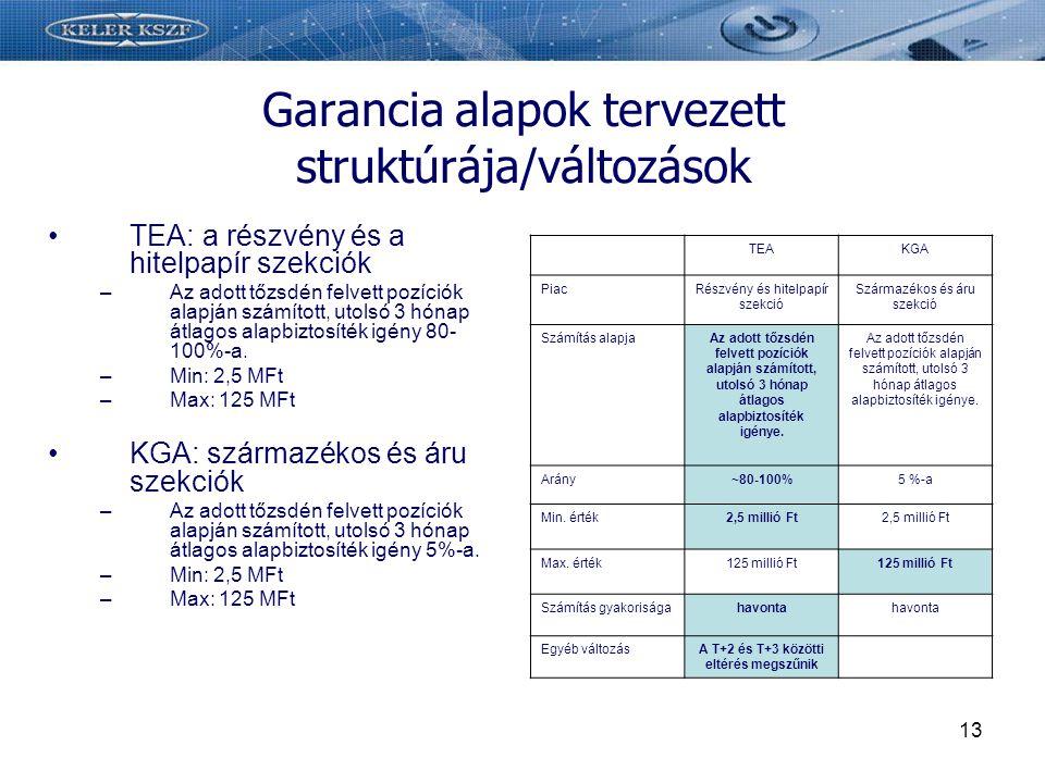13 Garancia alapok tervezett struktúrája/változások TEA: a részvény és a hitelpapír szekciók –Az adott tőzsdén felvett pozíciók alapján számított, utolsó 3 hónap átlagos alapbiztosíték igény 80- 100%-a.