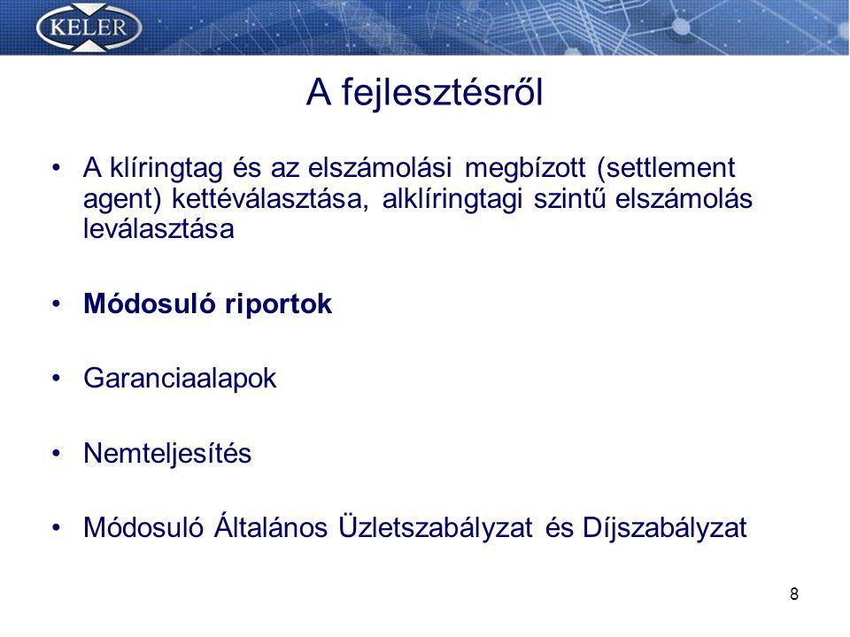 29 Nemteljesítés-kezelés szabályainak változása Időpontok (11:30 – 15.00) Módosuló eljárások Nemteljesítés finanszírozása (negatív egyenleg, marginolás) Rugalmas nemteljesítés kezelés (Aktív kommunikáció) Garancia elemek felhasználási sorrendje Pótdíjak kiszabásának módosulása (Késedelmi pótdíj kiszabás derivatív ügyletekre is)